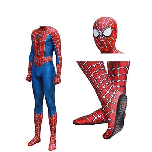 ASJUNQ 3D Print Full Spider-Man Kostüm Körper Halloween Cosplay Anzug Einlegesohle Objektiv Maske Für Erwachsene Kinder,Men-XXL