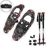 ALPIDEX Schneeschuhe Aluminium Rahmen Damen Herren ab Schuhgröße 36 bis 135 kg Ratschenbindung Tragetasche, Farbe:Black/Red 25 mit Stöcken