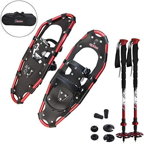 ALPIDEX Schneeschuhe Aluminium Rahmen Damen Herren ab Schuhgröße 36 bis 135 kg Ratschenbindung Tragetasche, Farbe:Black/Red 25 mit Stöcken -