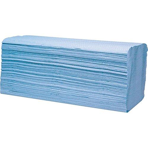wellsamed Papierhandtücher Zellstoff 2-lagig ZZ-Falz blau 25 x 23 cm 3200 Blatt Handtuchpapier Falthandtücher Papiertücher