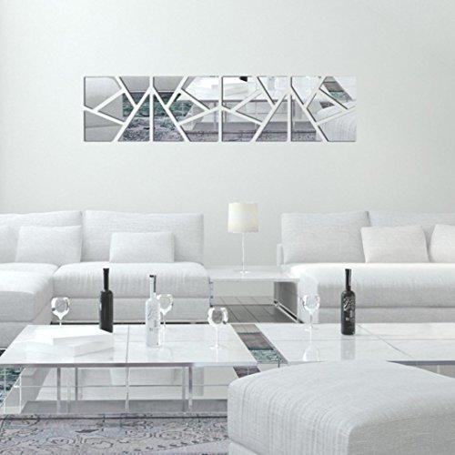 VOVO Wohnkultur, 4 Stücke Ein Set DIY 3D Acryl Spiegel Aufkleber Wandaufkleber Abnehmbare Böhmische Geometrische Muster Wohnkultur (Silber, Size: 20 * 80CM)