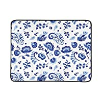 WOCNEMP Russian Blue Flowers Birds Portable And Foldable Blanket Mat 60x78 Inch Handy Mat For Camping Picnic Beach Indoor Outdoor Travel