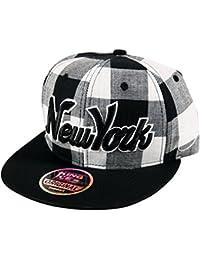 5d3f4679cca Itzu Snapback Baseball Cap New York NY Lumberjack Check Hat Adult in Red  Black Purple Blue White