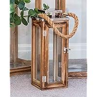 Sue Ryder Medium Rustic Wooden Chrome Candle Holder Floor Lantern with Rope Handles Garden Indoor Outdoor