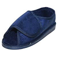 JWF Unisex Extra Wide Fit warm Lined Open Toe Navy Blue Slippers Shoe 4 Blue