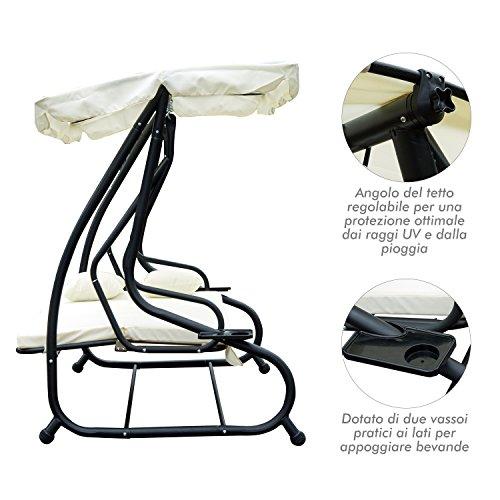 Outsunny Dondolo da Giardino Tre Posti Trasformabile in Letto con Cuscini 200 × 120 × 164cm Crema - 5