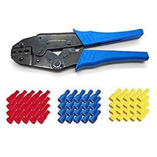 ARLI Crimpzange + Flachsteckhülsen 6,3 x 0,8 mm 50x Rot 50x Blau 50x Gelb Elektrische Flachsteckhülse 0,5-6 mm Flach Hülse Stecker Verbinder Hülsen Crimp Zange Set kfz Steckverbinder crimpen