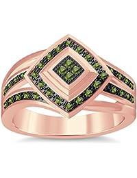 Silvernshine 1.35Ctw Round Cut Green Peridot Sim Diamonds 14K Rose Gold Plated Engagement Ring