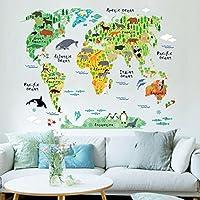 STRIR Mapa Del Mundo de La Historieta Animal Lindo Pegatinas de Pared, Vivero Habitación de Los Niños Removible Etiquetas de La Pared / Murales