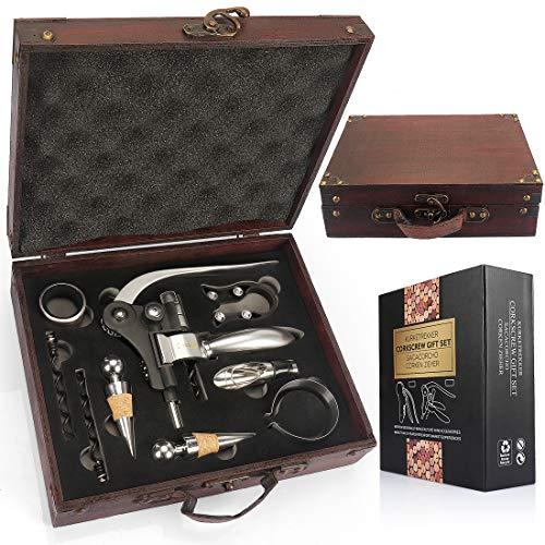 YOBANSA Kit d?ouverture de bouteille de vin dans une boîte en bois antique avec tire-bouchon, bouchon aérateur et bec verseur