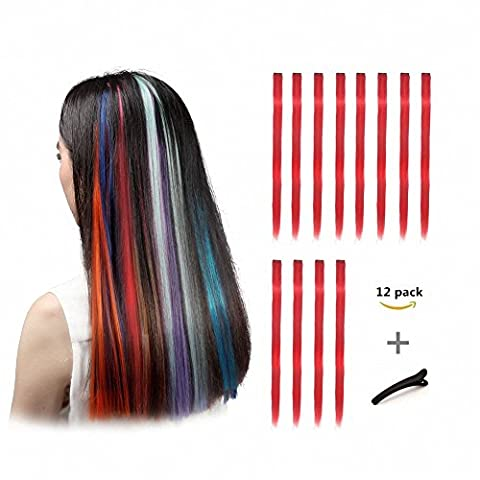 FESHFEN 12 Pcs Red Straight Clip on in Hair Extensions Hairpieces 20 Inches Long Remy Hair Colored Party Highlights Hair Accessories DIY Hair Decoration Cosplay with Gift Hairpin