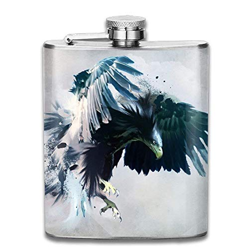 Nifdhkw Angry Eagle with Big and Blue Wings Outdoor Portable Stainless Steel Flagon Liquor Hip Flask Set - Blue Eagle Wings