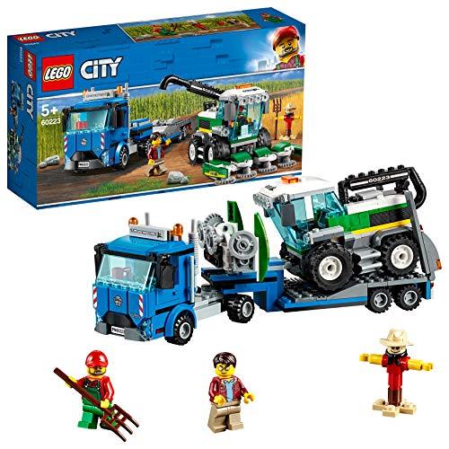 LEGO City Great Vehicles - Transporte de la Cosechadora, juguete creativo de construcción y aventuras con tractor, camión de transporte y espantap (60223)