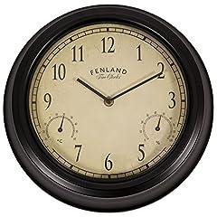 Idea Regalo - OutdoorLiving Manor orologio da parete termometro igrometro monitor tempo, temperatura e umidità movimento al quarzo a batteria casa/giardino interno/esterno 30cm (diametro 30,5cm) Stile retro nero
