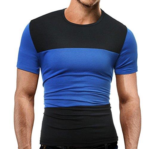 Herren Tshirt,Kurzarmshirt Top Print Shirt Casual Basic O-Neck Superman T-Shirt Herren Vintage Flock 100% Baumwolle (Blau, M)
