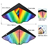 Enlarge toy image: Huge Colorful Kite for Kids and Adults   Have Fun to Fly Rainbow Kites this Summer from Satu Brown   Best Toy for Outdoor Games Family Activities   Enhance Connection with Children   Ideal Gift   262ft Flying String   100% Infinity Guarantee