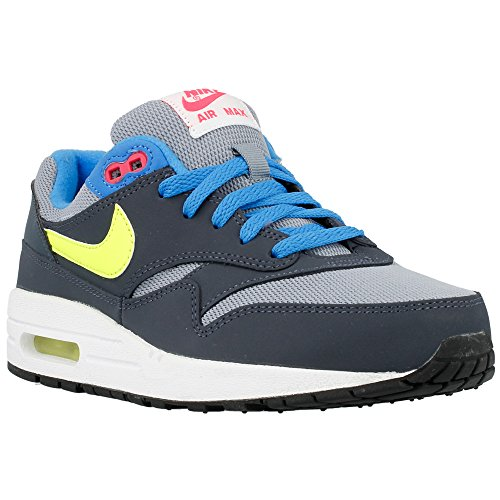 Nike Unisex-Kinder Air Max 1 (Gs) Sneakers, Grau (Grau / Gelb / Blau), 38.5 EU