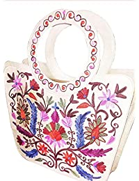 Indias Craft Women's White Embroided Hand Bag