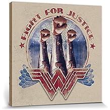 1art1® Wonder Woman Poster Reproduction sur Toile, Tendue sur Châssis - Fight for Justice - Fist (40 x 40 cm)