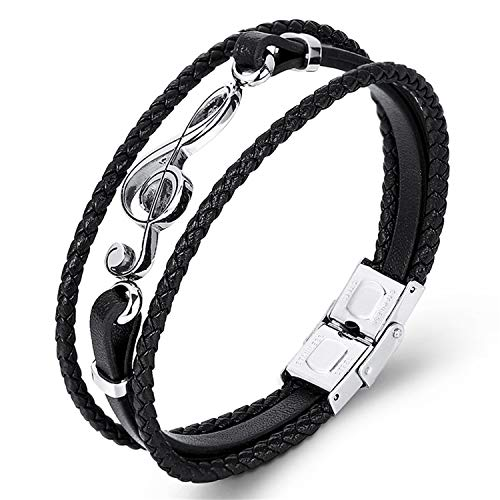 Daawqee Premium Armband, Unique Punk Stainless Steel Musical Notes Bracelets Male Leather Bracelet for Women Rope Bangle Drop Shipping