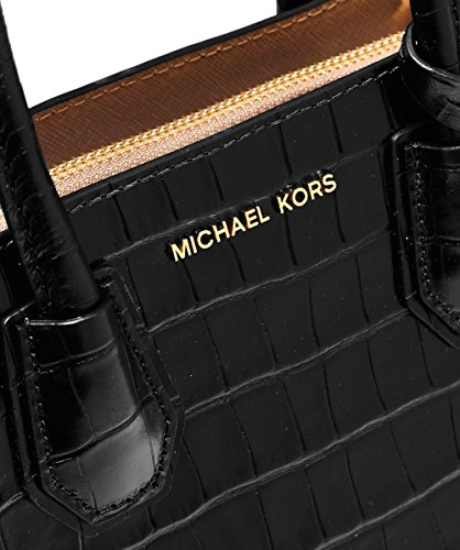 MICHAEL by Michael Kors Mercer Black Crocodile Effect Messenger Bag Nero