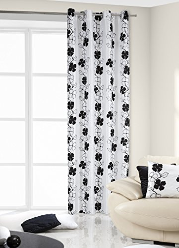 DecoKing 140x245 cm schwarz weiß Vorhang Fensterdekoration Gardine Ösenschal Blumenmuster Blumen Black White (Weiße Und Schwarze Blumen-vorhänge)