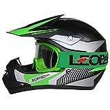 Leopard LEO-X19 Casco de Motocross para Niños Bicicleta Motocicleta ATV Patio ECE 22-05 Aprobado + Gafas de Moto - Verde S (49-50cm)