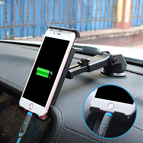 M Multifunctional Phone Stand Suction Cup Car Dashboard Holder Bracket for Smartphone iPad GPS ()