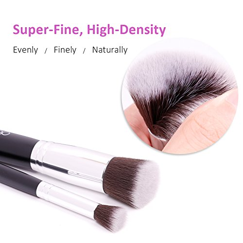 Docolor 10 Pieces Kabuki Makeup Brush Set with Bags Synthetic Foundation Powder Eye Shadows Kit (Black)