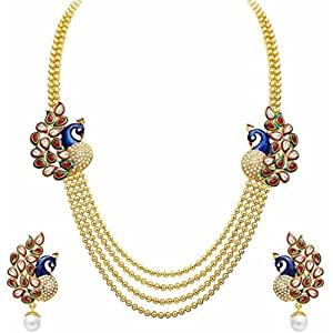 Efulgenz Indian bollywood Traditional Gold Plated Ethnic Antique Peacock Multi Strand Necklace Jewellery Set with Drop Earrings for Girls and Women