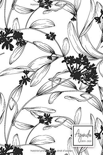 Agenda 2019-2020: Agenda Scolaire de Juillet 2019 à Juillet 2020, Semainier simple & graphique, motif floral noir et blanc par YesOuiPages