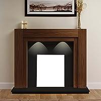 "American Walnut Wood Surround Spotlights Black Hearth & Back Panel Wall Modern Electric Fire Fireplace Suite Lights 48"""