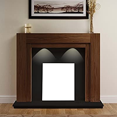 American Walnut Wood Surround Spotlights Black Hearth & Back Panel Wall Modern Electric Fire Fireplace Suite Lights 48""