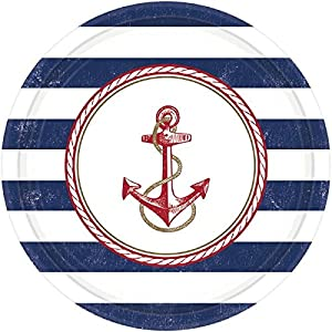"Anchor de anclas náuticas parte redonda Cena Platos Vajilla, papel, 10"", pack de 8"