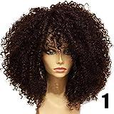 Blue Vessel Mode Kurzes Gelockt Perücken Brasilianischer Remy Perücken Wärme Freundlich Volle Spitze Schwarze Frauen Perücken Curly Wigs (braun)