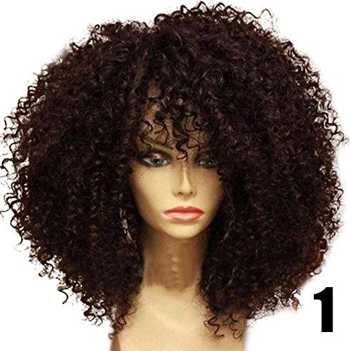 Curly Perücke (Blue Vessel Mode Kurzes Gelockt Perücken Brasilianischer Remy Perücken Wärme Freundlich Volle Spitze Schwarze Frauen Perücken Curly Wigs (braun))