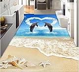 Malilove 3d-PVC Bodenbeläge eigene Tapete 3d Delfine Liebhaber Wohnzimmer Badezimmer Bodenbeläge Wandbild Fototapete für Wände 3d