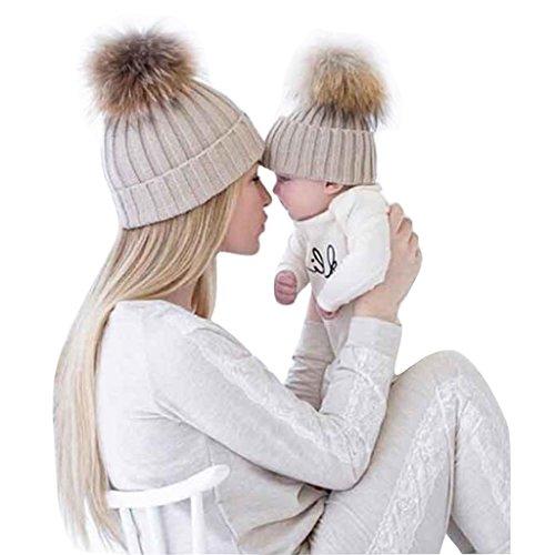 FEITONG Mamá y el bebé Tejido de punto Mantenga el sombrero caliente (Gray)