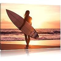 Surfer prima del tramonto, Formato: 60x40 su tela, XXL enormi immagini completamente Pagina con la barella, stampa d'arte sul murale con telaio, più economico di pittura o un dipinto a olio, non un manifesto o un banner,