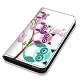 Hülle Galaxy S5 / S5 Neo Hülle Samsung S5 / S5 Neo Schutzhülle Handyhülle Flip Cover Case Samsung Galaxy S5 / S5 Neo (OM1007 Eule Eulen Familie Lila Violett Türkis)