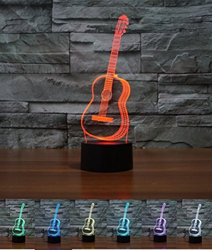 Art Deco Lampen, LED Nachtlampe der LED 3D Farbe die geführte Lichter, Kind-Raum Ausgangsdekoration-bestes Geschenk, Noten Kontroll Licht 7 Farben ändert USB angetriebene Schreibtisch Lampen (Gitarre)