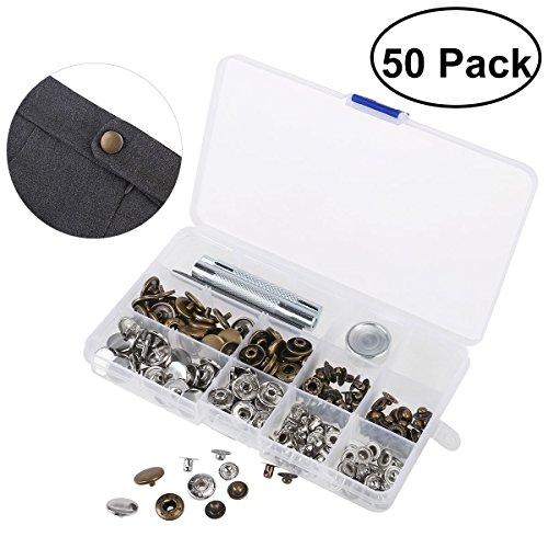 OUNONA 50 Set Metall Druckknöpfe 15mm Druckknopf Set Tasten Automatische Druck Kupfer Kein Nähen Knopf mit Korrektur Werkzeug für Stoff,Leder Artigianat