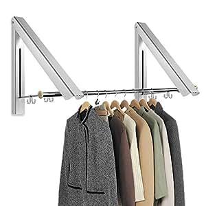 aodoor klappbar wand kleiderst nder 2 st ck edelstahl tube faltende kleiderhaken aluminium. Black Bedroom Furniture Sets. Home Design Ideas
