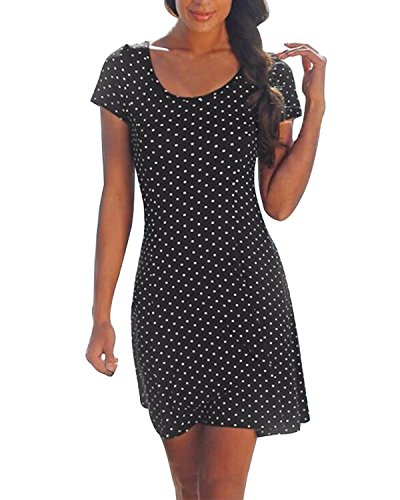 minetom-mujeres-casual-elegante-playa-lunares-vestido-camiseta-largo-cuello-redond-manga-corta-negro