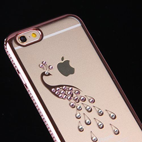 Coque iPhone 6S,Coque iPhone 6,Coque Étui Case pour iPhone 6 / 6S,ikasus® Plating Rose Golden Placage or rose Coque iPhone 6 / 6S Silicone Étui Housse Téléphone Couverture TPU Clair éclat Bling Bling  Or Rose Paon