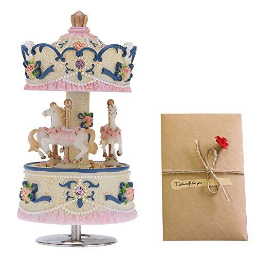 pajansa Karussell Musik Box Melodie Castle in the Sky mit Grußkarten Artware Geschenk für Kinder Kinder Familie Freunde Liebhaber Geburtstag Weihnachten Urlaub Geschenk blau -