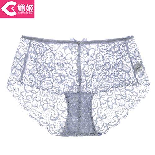 RRRRZ* Sexy Unterwäsche Frauen spitze Versuchung für größere sexy Unterwäsche, transparent 3 Ecke Hose, Gravur, M, Grau