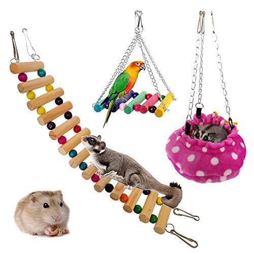 Klettern Katzenspielzeug für Hauskatzen Interaktive Haustiere Spielen 3 Teile / satz Pet House Hängen Bett Treppen Schaukel Spielzeug für Zuckersegelflugzeug Hamster Ratte-Gelegentliche Farbe 3pcs