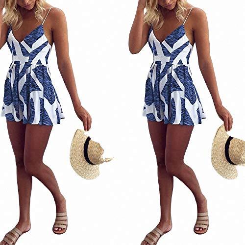 FeiXing158 Art und Weise Nette Prinzessin Summer Evening Party Women Sleeveless V-Ausschnitt A Line Geometric Print Blue Hohe Taille Mini Dress-in Kleider von Little Boy Blue Damen Schuhe