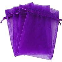 Saquitos de regalo de organza, 100 unidades, bonitas bolsas para entregar regalos a sus invitados, 10 cm x 15 cm, morado, Lila